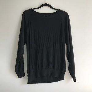 H&M Black Slouchy Sweater with Sheer Sleeves